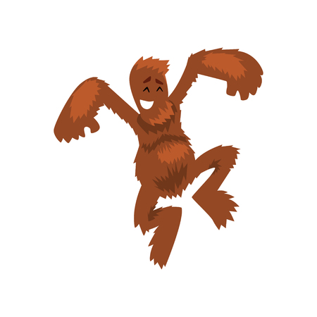 Funny happy bigfoot having fun, mythical creature cartoon character vector Illustration on a white background