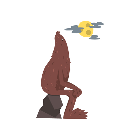Bigfoot sitting on the stone, mythical creature cartoon character vector Illustration on a white background