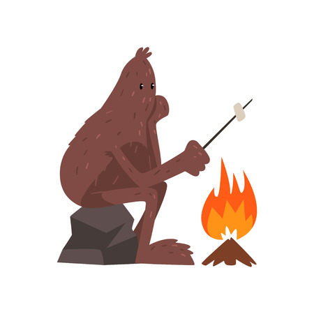 Bigfoot seduto sulla pietra vicino al fuoco e arrosto marshmallow, personaggio dei cartoni animati di creatura mitica vettoriale illustrazione su sfondo bianco
