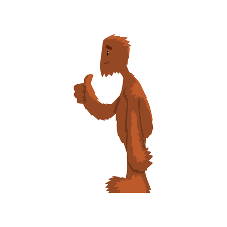Funny friendly bigfoot showing thumbs up, mythical creature cartoon character vector Illustration on a white background Illustration