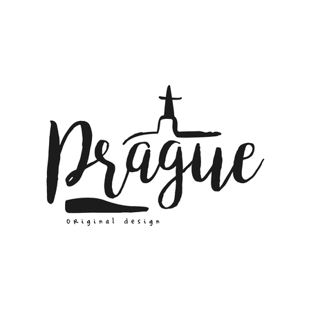 Prague european capital city name, original design, black ink hand written inscription, typography design for poster, card,  poster, banner, tag vector Illustration