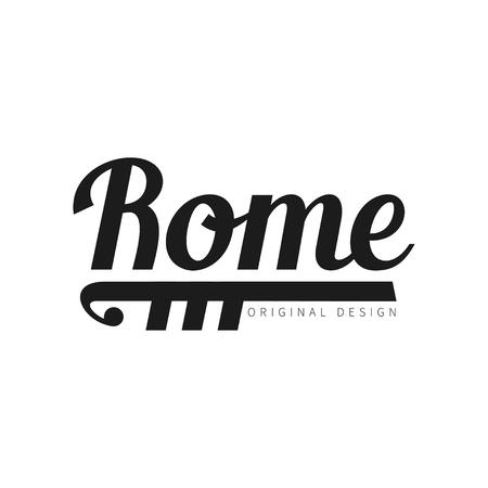 Rome european capital city name, original design, black ink hand written inscription, typography design for poster, card, poster, banner, tag vector Illustration 일러스트