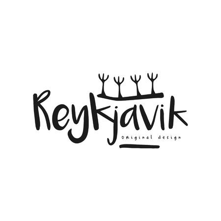 Reykjavik stadsnaam, origineel ontwerp, zwarte inkt handgeschreven inscriptie, typografieontwerp voor poster, kaart, poster, banner, label vector illustratie