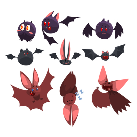 Vampire bat cartoon characters set, funny bats with different emotions vector Illustrations on a white background