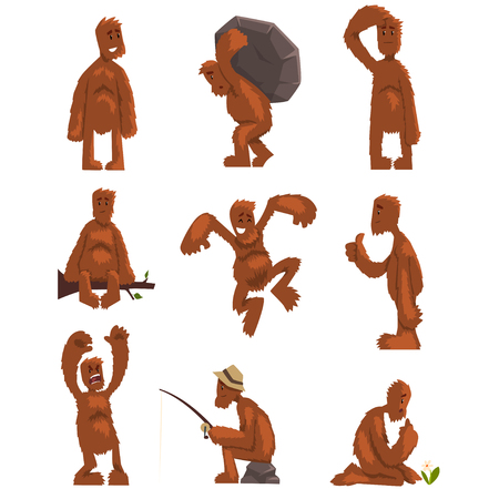 Funny bigfoot cartoon character set, mythical creature in different situations vector Illustrations on a white background Stock Vector - 101757727