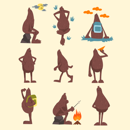 Bigfoot cartoon character set, funny mythical creature in different situations vector Illustrations on a white background Ilustração