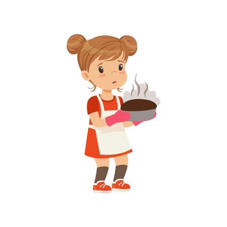 Sad girl holding a burnt freshly baked pie vector Illustration on a white background