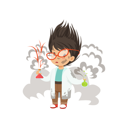 Boy after a failed chemical experiment vector Illustration on a white background Banque d'images - 101810738