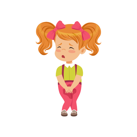Cute little girl sad that she peed vector Illustration on a white background
