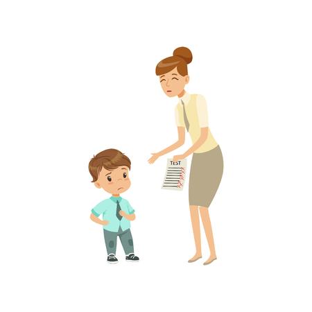 Teacher showing bad grades to sad little boy vector Illustration on a white background