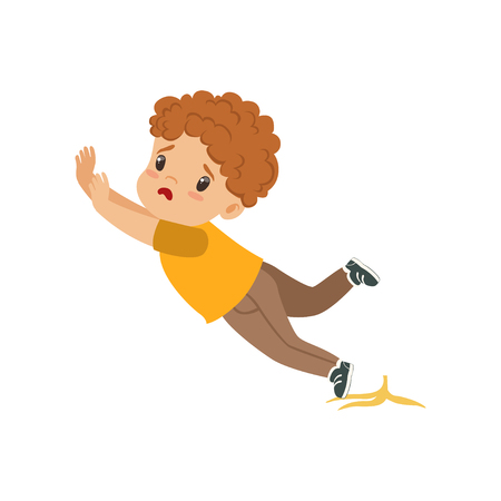 Boy slipping on a banana peel vector Illustration on a white background