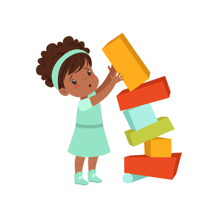 Cute african american girl playing with toy blocks vector Illustration on a white background