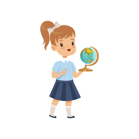 Girl standing with globe at geography lesson, pupil in school uniform studying at school vector Illustration on a white background 일러스트