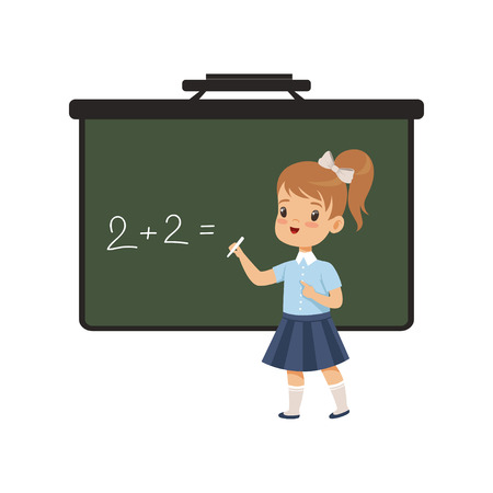 Girl writing english letters on blackboard, elementary school student in uniform vector Illustration on a white background