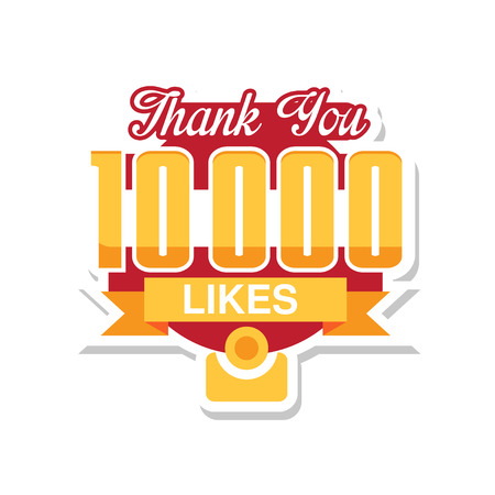 Thank you 10000 likes, template for social media networks, thanks for net friends likes vector Illustration on a white background Foto de archivo - 101810752
