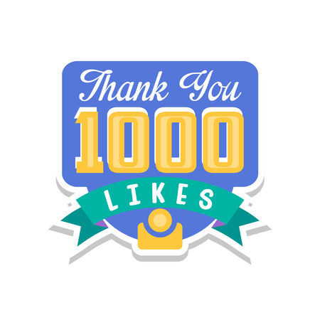 Thank you 10000 likes, template for social media networks, thanks for net friends likes vector Illustration on a white background