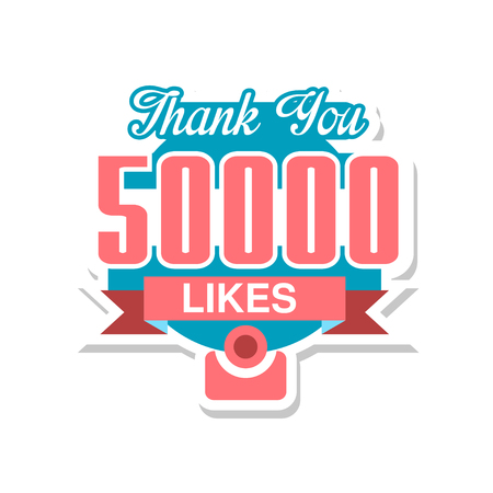 Thank you 50000 likes, template for social media networks, thanks for net friends likes vector Illustration on a white background Foto de archivo - 101810755