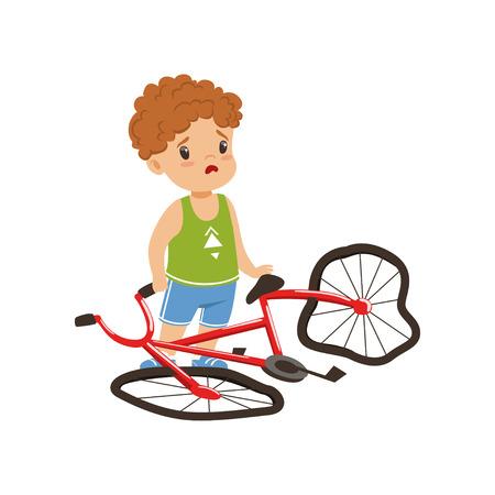 Junge, der sich mit seiner gebrochenen Vektorillustration des Fahrrads auf einem weißen Hintergrund unglücklich fühlt