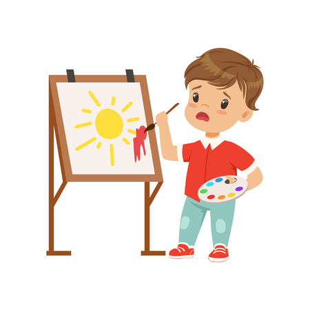 Frustrated boy stained the picture with blotch, boy painting sun on an easel vector Illustration on a white background Çizim