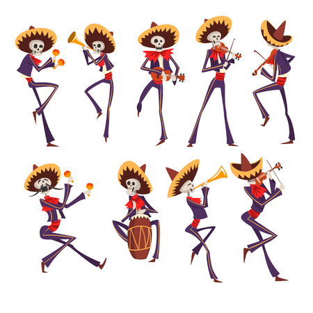 Skeleton in Mexican national costumes dancing, playing violin, trumpet, drum, Dia de Muertos, Day of the Dead vector Illustrations on a white background