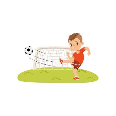 Boy with soccer ball doing kick on the lawn, sad boy did not score a goal vector Illustration on a white background