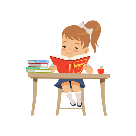Cute girl sitting at the desk and reading a book, elementary school student in uniform vector Illustration on a white background
