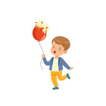 Sad boy holding bursting balloon vector Illustration on a white background 向量圖像