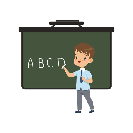 Boy writing english letters on blackboard, elementary school student in uniform vector Illustration on a white background