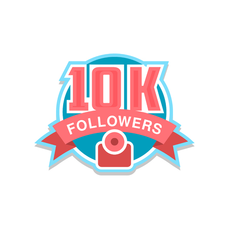 Thank you 10k followers numbers, template for social networks, user celebrating large number of friends and subscribers vector Illustration on a white background Illustration