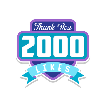 Thank you 2000 likes, template for social media networks, thanks for net friends likes vector Illustration on a white background
