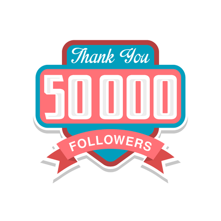 Thank you 50000 followers numbers, template for social networks, user celebrating large number of friends and subscribers vector Illustration on a white background  イラスト・ベクター素材