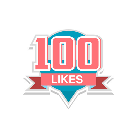Thank you 100 likes, template for social media networks, thanks for net friends likes vector Illustration on a white background  イラスト・ベクター素材