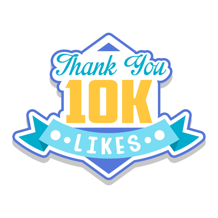 Thank you 10k likes, template for social media networks, thanks for net friends likes vector Illustration on a white background Foto de archivo - 101821666
