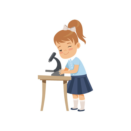 Cute girl using microscope at lesson, pupil in school uniform studying at school vector Illustration on a white background Çizim