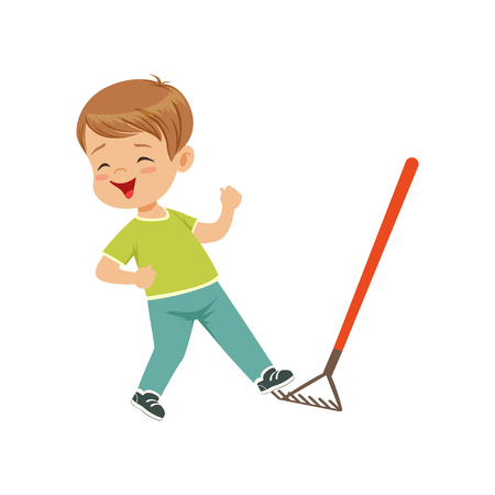 Cute little boy stepping on the rake vector Illustration on a white background