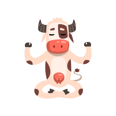 Cow sitting in lotus pose, funny farm animal cartoon character practicing yoga vector Illustration on a white background