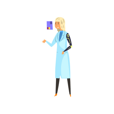 Girl from the future looking at virtual screen, futuristic mechanism technology concept vector Illustration on a white background