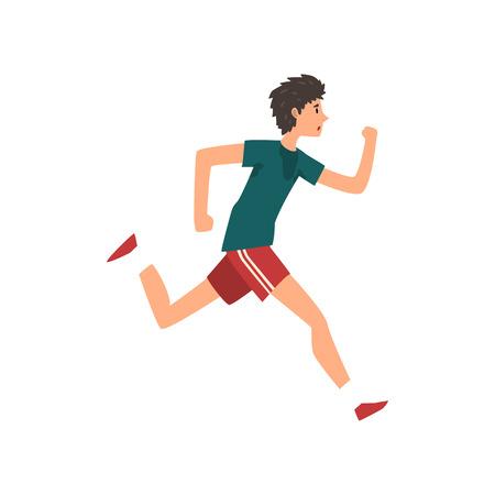 Joven deportista corriendo, vector de dibujos animados de concepto activo estilo de vida saludable ilustración sobre un fondo blanco