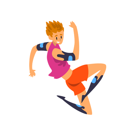 Male athlete in futuristic clothing, technology of the future in sports vector Illustration on a white background