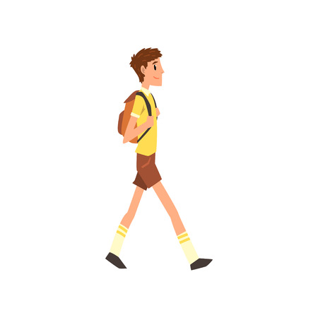 Young man walking with backpack, active healthy lifestyle concept cartoon vector Illustration on a white background