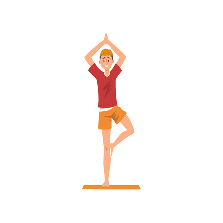 Young man doing yoga in a vrksasana position, active healthy lifestyle concept cartoon vector Illustration on a white background