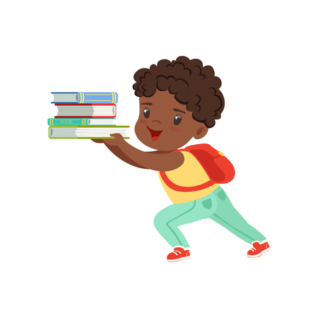 Cute little boy character with backpack holding heavy stack of books vector Illustration on a white background