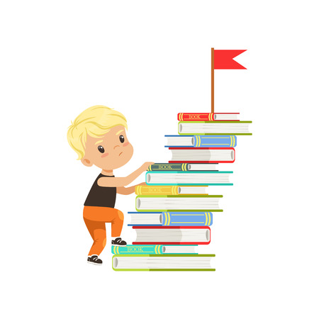 Cute little boy character climbing stairs made of books vector Illustration on a white background