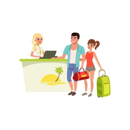Jonge toeristische paar bij de receptie van het hotel met lachende receptioniste, mensen die samen reizen tijdens de zomervakantie vector illustratie Vector Illustratie