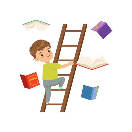 Carattere del ragazzino sveglio salendo su scala di legno, libri che cadono accanto a lui vettoriale illustrazione su sfondo bianco