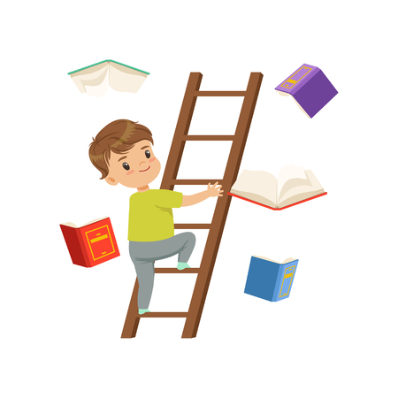 Lindo personaje de niño pequeño subiendo escalera de madera, libros cayendo junto a él vector ilustración sobre un fondo blanco