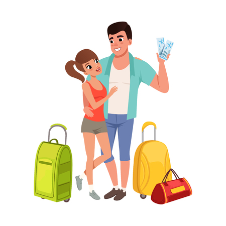 Young couple with travel bags and tickets, man and woman traveling together during summer vacation vector Illustration on a white background