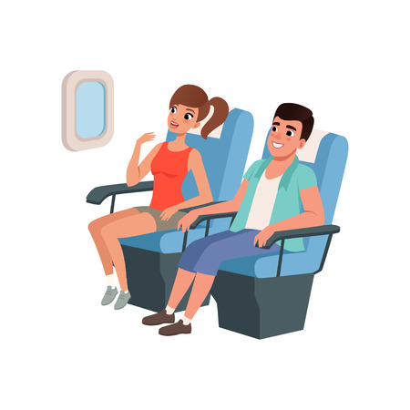 Young tourist couple sitting in airplane seats, people traveling together during summer vacation vector Illustration on a white background Vectores