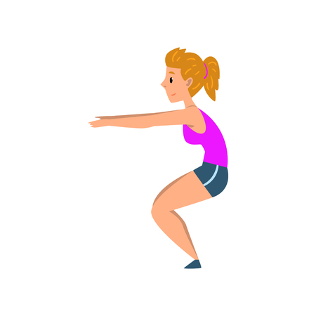 Sportive young woman doing squats, active healthy lifestyle concept cartoon vector Illustration on a white background