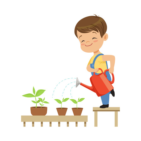 Cute little boy character watering plants from a watering can vector Illustration on a white background